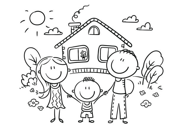 Happy family with one child near their house, black and white vector art illustration