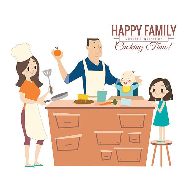 Famille heureuse avec leurs parents et enfants de cuisson dans la cuisine - Illustration vectorielle