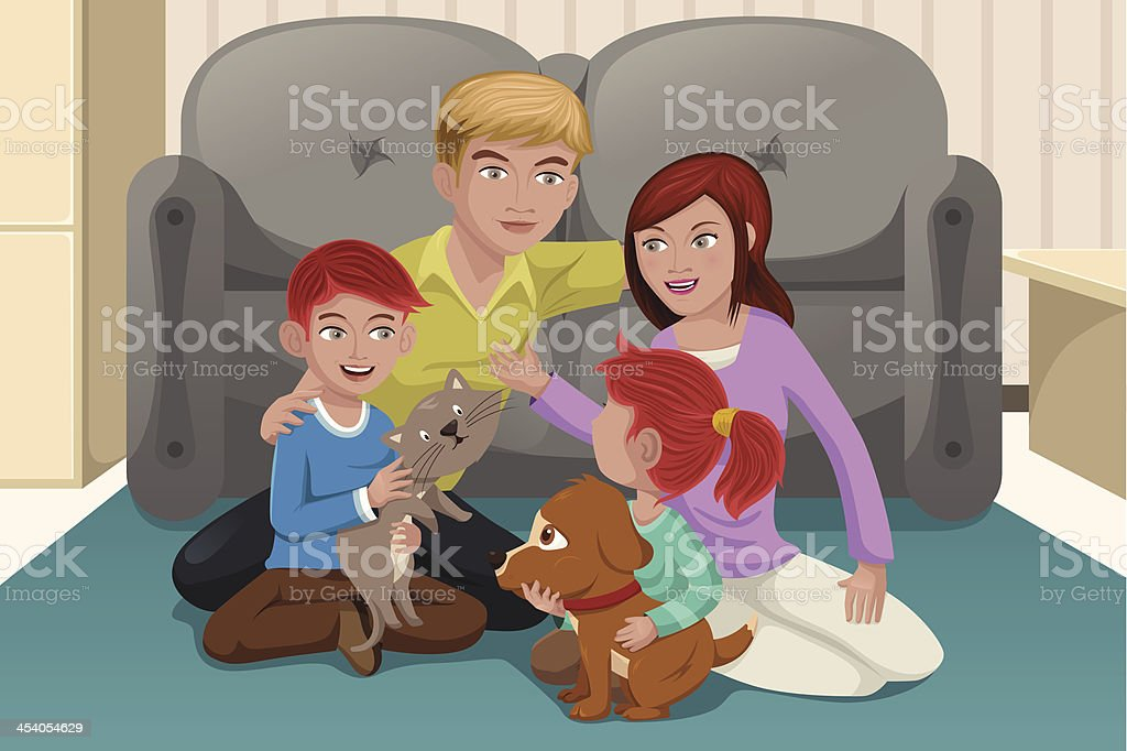 Happy family with pets royalty-free stock vector art