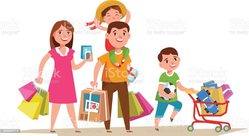 Happy family with shopping bag vector art illustration