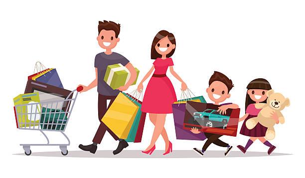 ilustrações de stock, clip art, desenhos animados e ícones de happy family with shopping. big discount. purchasing of goods - family christmas