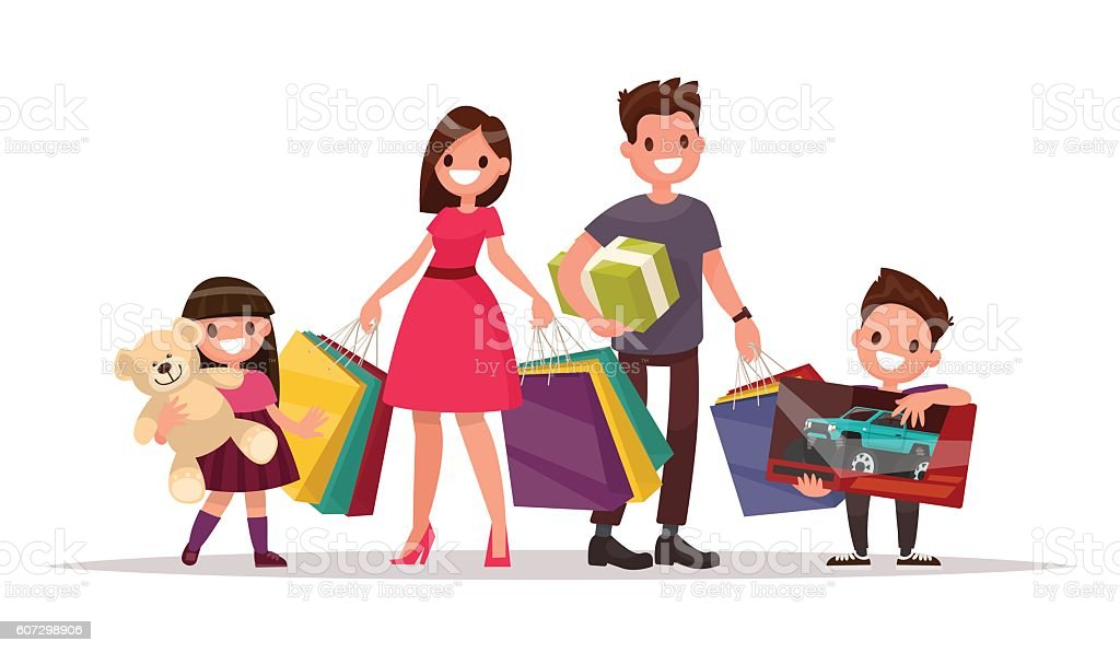 Happy family with shopping. Father mother, son and daughter - Illustration vectorielle