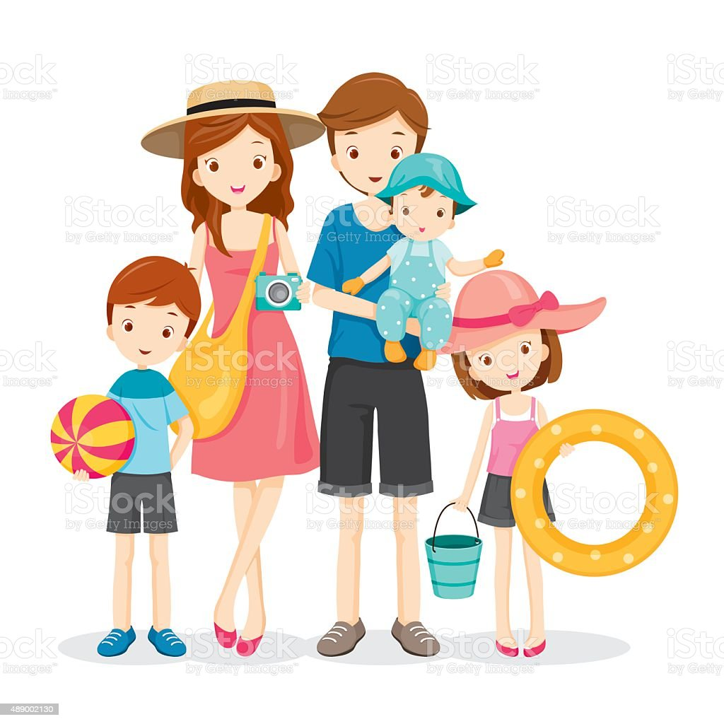 Happy Family With Summer Trip vector art illustration