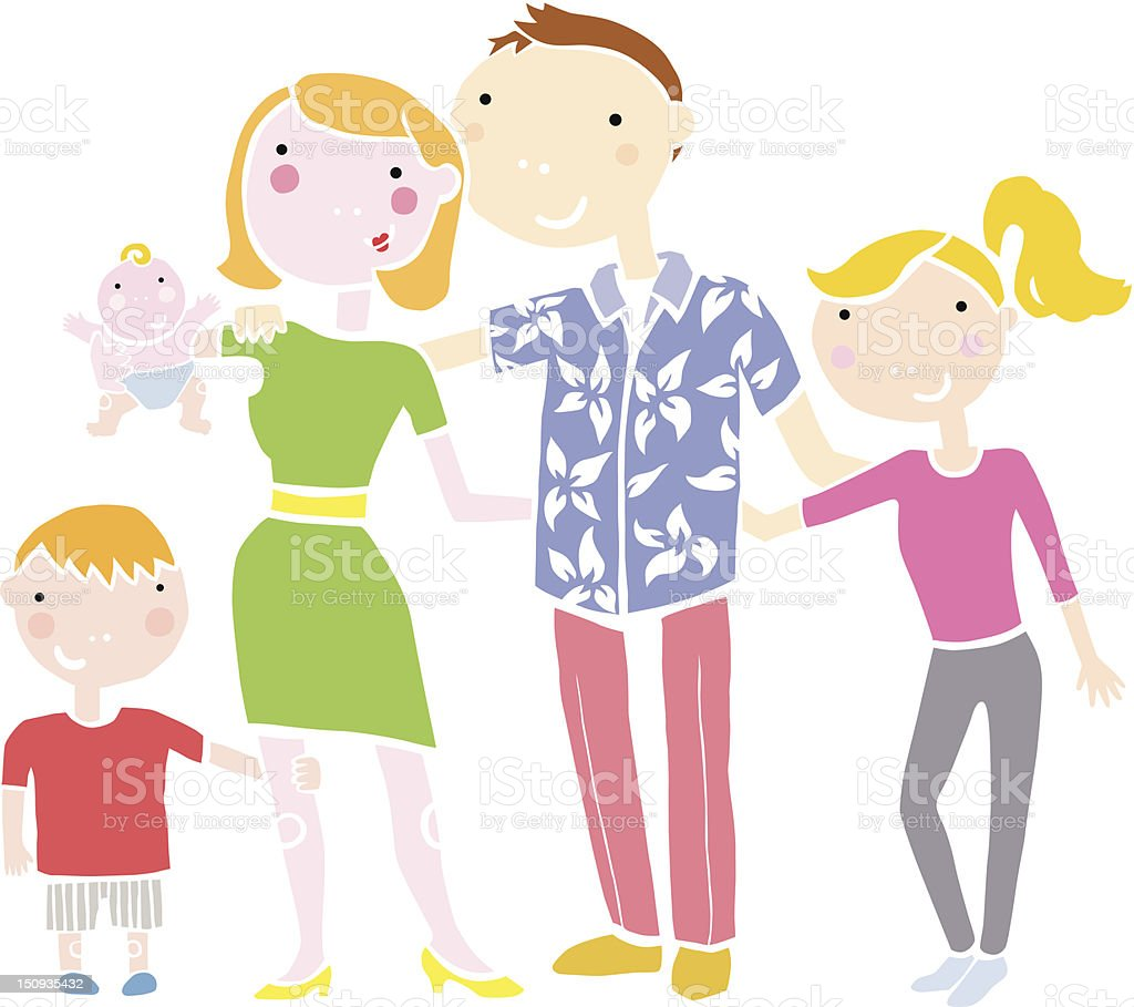 Happy Family Of 5 Clipart