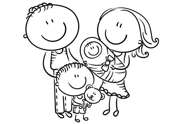 Happy family with two children, cartoon graphics, outline vector art illustration