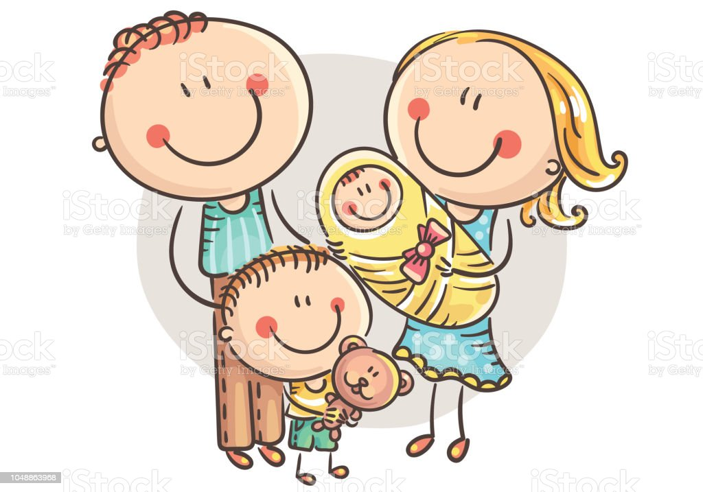 Happy cartoon family with two children, vector illustration