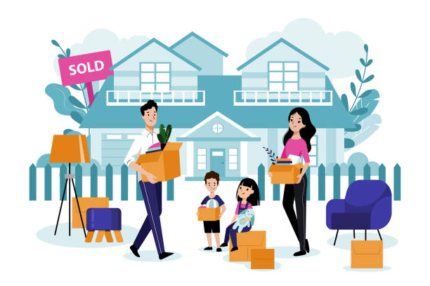 happy family with two kids move to their new house. vector flat cartoon illustration. relocation and moving concept. - new home stock illustrations