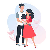 A happy family. Young parents. Mom holds a small child in her hands. Vector illustration