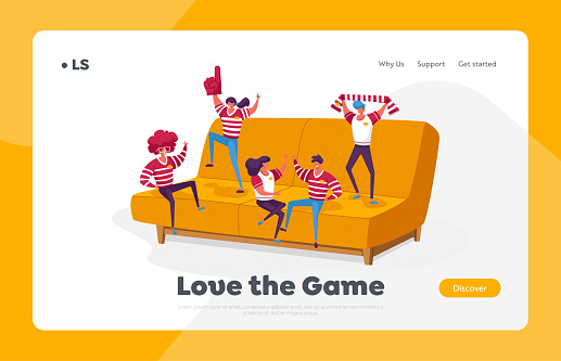 Happy Fans Cheering for their Team Victory and Success Landing Page Template. Tiny Characters with Funny Attribution and Uniform Sitting and Jumping on Huge Couch. Cartoon People Vector Illustration