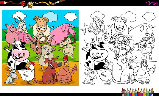 happy farm animal characters group coloring book