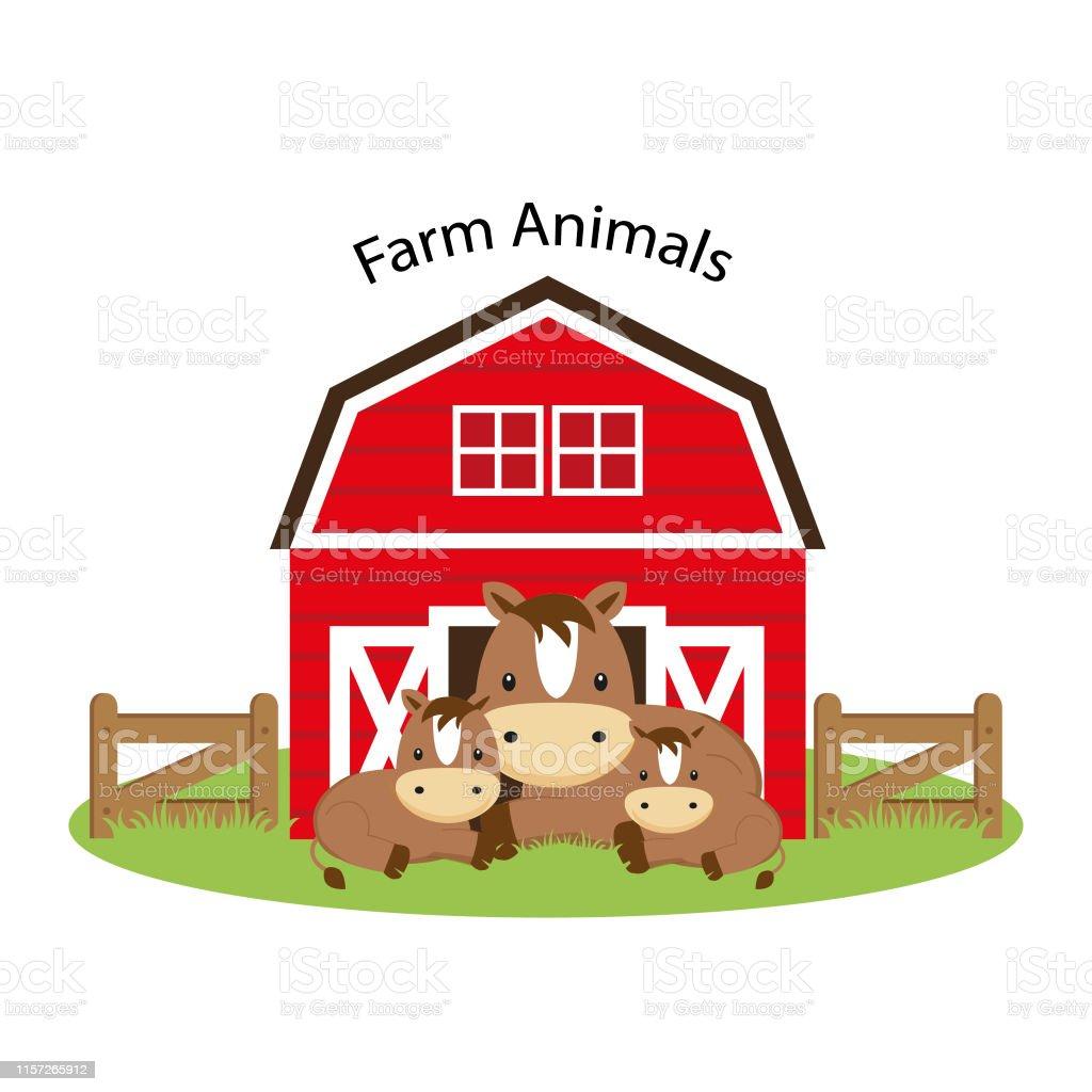 Happy Farm Animals Cute Horse Family Cartoon Illustration Stock Illustration Download Image Now Istock