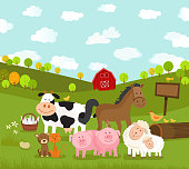 A vector illustration of a farm scene with different kinds of farm animals like horse, cow, pigs, sheeps, cat, dog, bird and chickens.