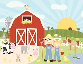 A vector illustration of a farm scene with farmers and animals (cow, goat, cat, chickens, chicks, rabbit, pig, duck, horse, frog, sheep and rooster). Object are grouped and layered for easy editing. Global colors used, no gradients. Files included: AICS5, EPS8 and Large High Res JPG.