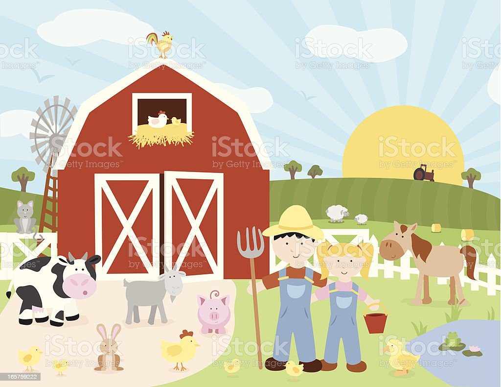 Happy Farm Scene vector art illustration