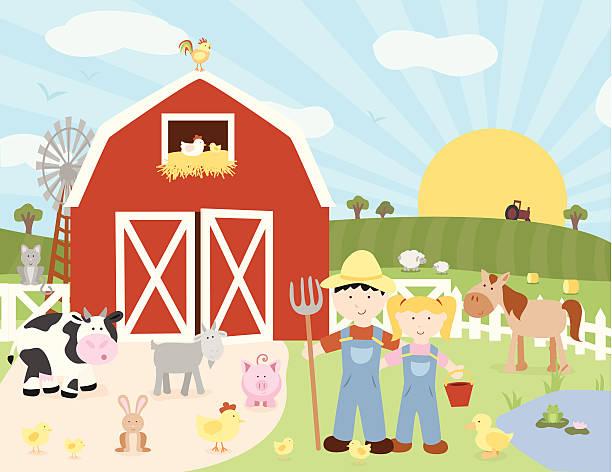ilustrações, clipart, desenhos animados e ícones de cena de fazenda feliz - animais da fazenda