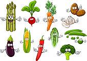 Happy farm vegetables cartoon characters
