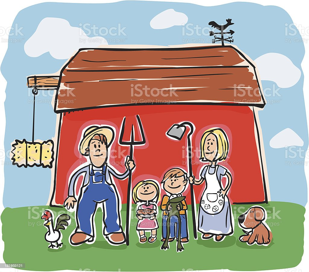 Happy Farmer and Family royalty-free happy farmer and family stock vector art & more images of adult