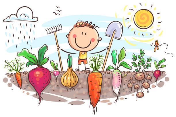 Happy farmer has grown a lot of vegetables vector art illustration