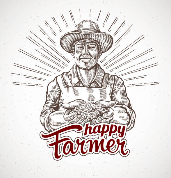 Happy farmer holding a handful of grain in his hands Happy farmer holding a handful of grain in his hands. Vector illustration in engraving style. farmer stock illustrations