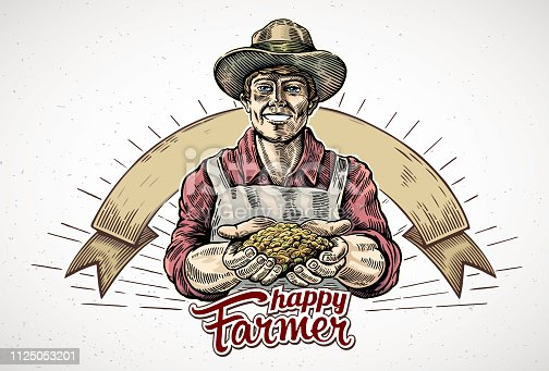 Happy farmer holding a handful of grain in his hands. Vector illustration in engraving style.