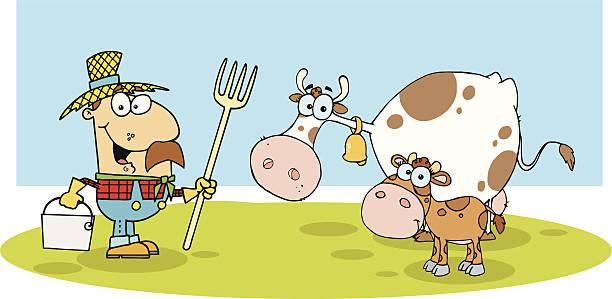 happy farmer mit kuh und kalbsleder - lustige kuh bilder stock-grafiken, -clipart, -cartoons und -symbole