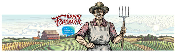 Happy farmer with pitchfork in hand against the agricultural landscape. vector art illustration
