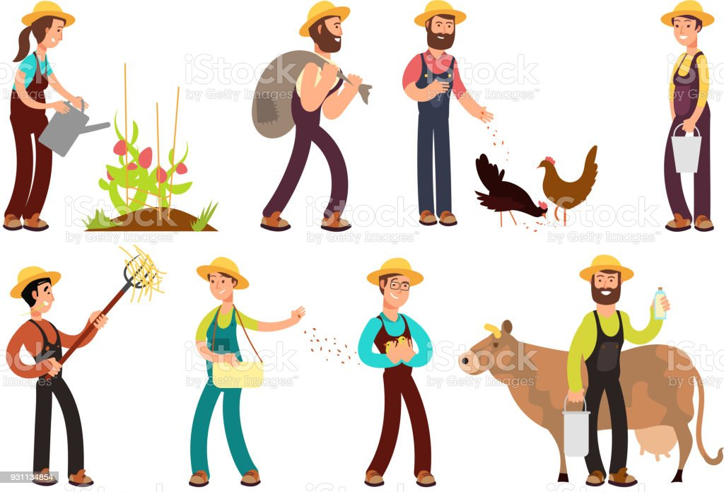 Happy Farmers With Agricultural Tools And Planting Vector Characters