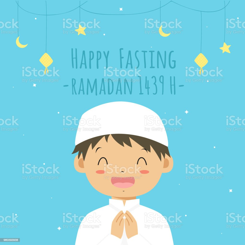Happy Fasting Ramadan Kareem Card, Happy Muslim Boy Vector vector art illustration