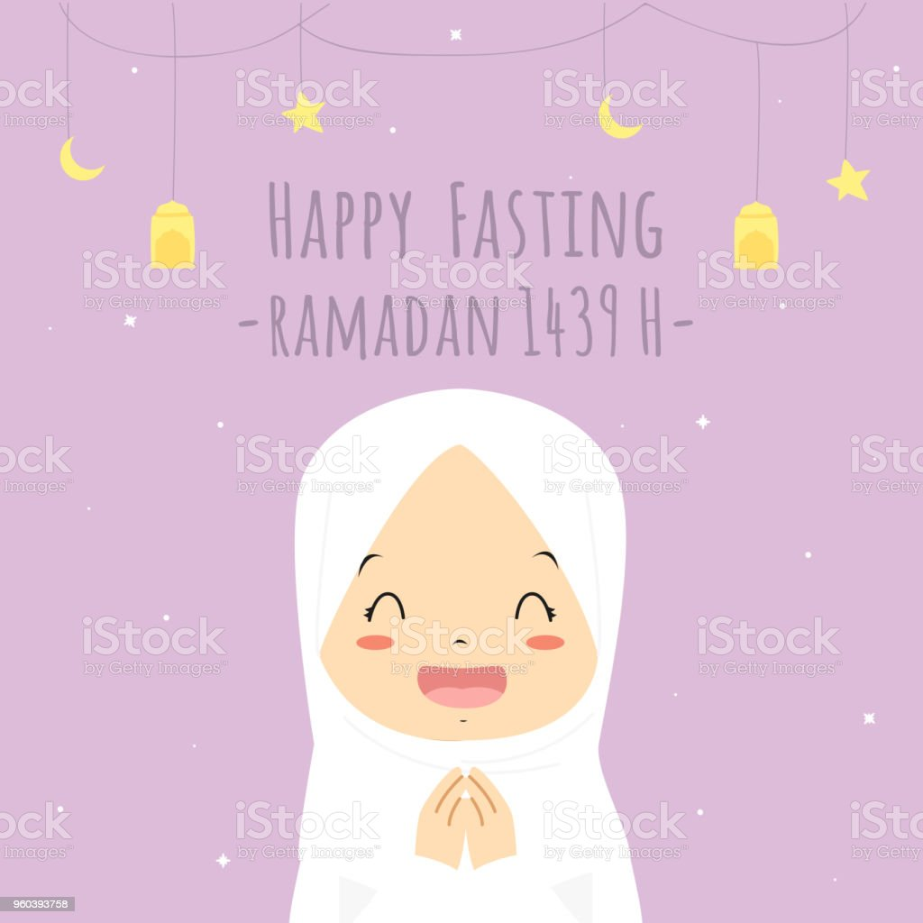 Happy Fasting Ramadan Kareem Card, Happy Muslim Girl Vector vector art illustration