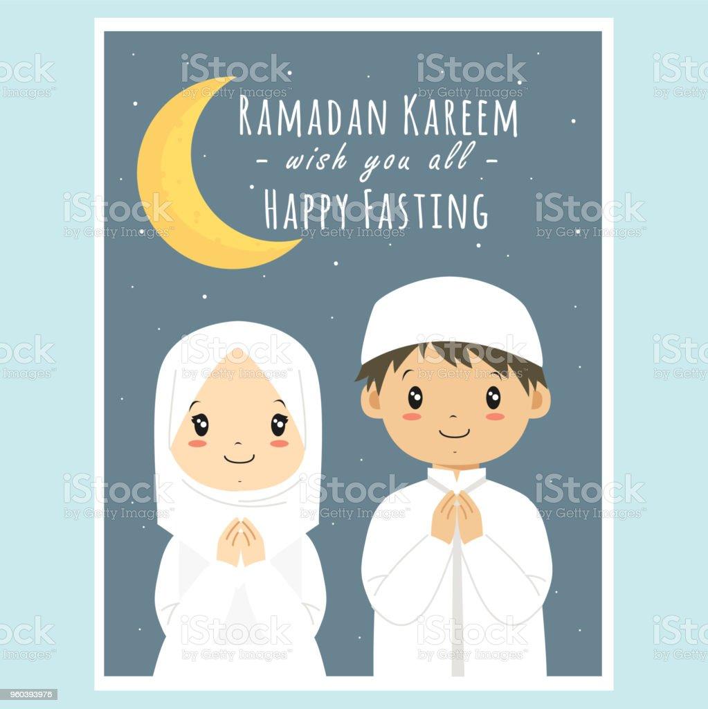 Happy Fasting, Ramadan Kareem Greeting Card Vector vector art illustration