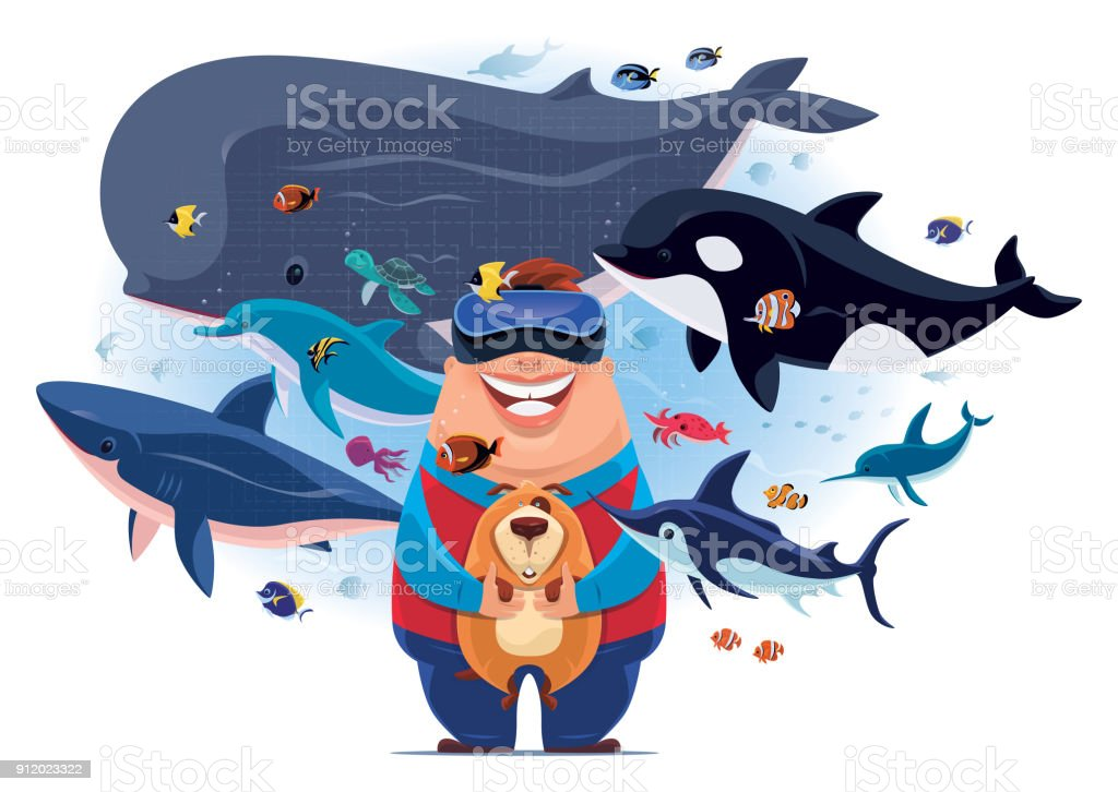 happy fat boy watching sea creatures with VR goggles vector art illustration