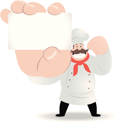 Happy fat chef holding a white message card
