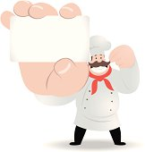Vector illustration - Happy fat chef holding a white message card.