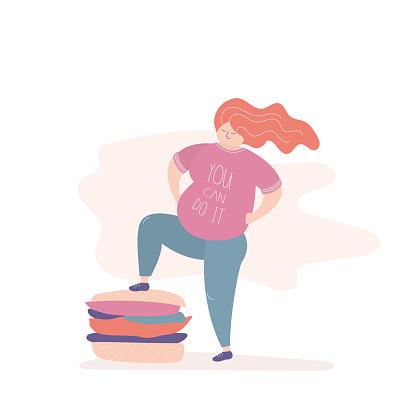 Happy fat girl put foot on a big hamburger,funny female wins overweight,