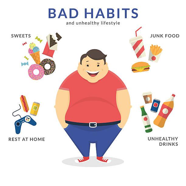 illustrazioni stock, clip art, cartoni animati e icone di tendenza di felice uomo grasso - obesity