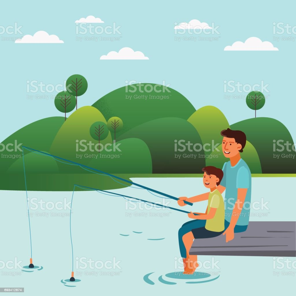 Happy father and son fishing on the lake vector art illustration