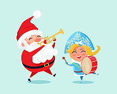 Happy Father Christmas and grand daughter playing musical instruments. Santa and snow maiden amused fairy tale heroes vector isolated on blue