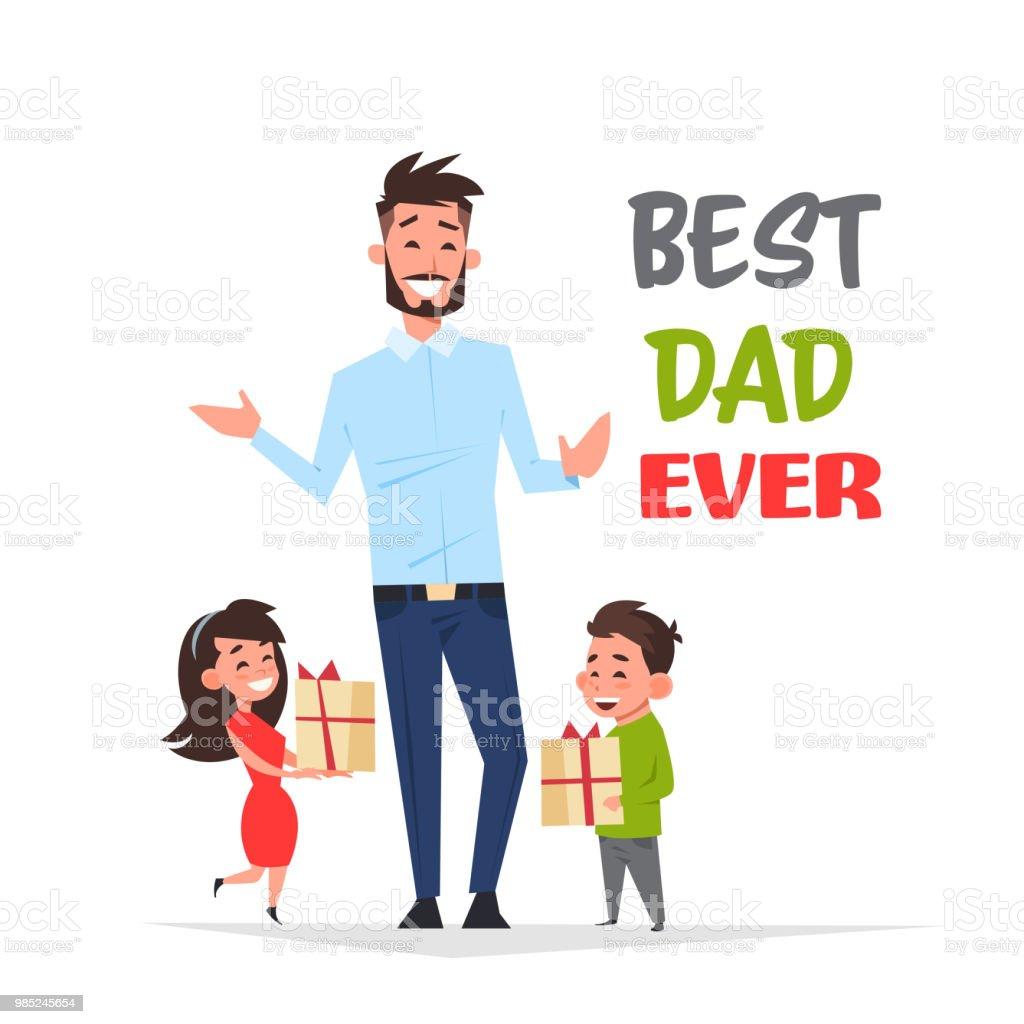 Glücklicher Vater Tag Familienurlaub Afrikanischen Tochter Und Sohn ...