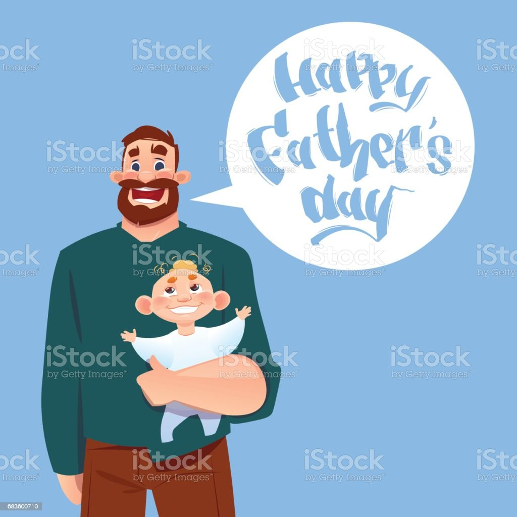 Happy Father Day Family Holiday Dad Hold Infant Son Greeting Card
