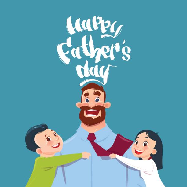 happy father day family holiday, daughter and son embracing dad greeting card - father stock illustrations, clip art, cartoons, & icons