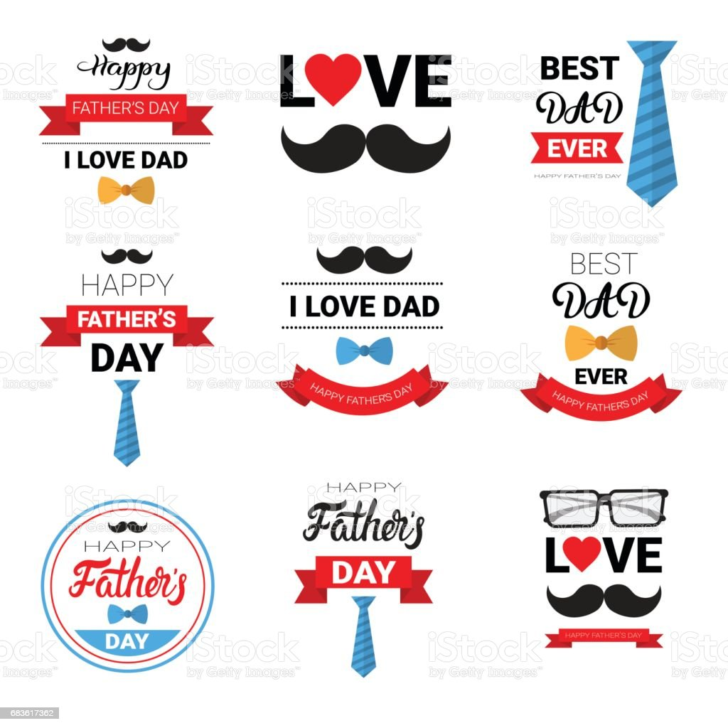 Happy Father Day Family Holiday Greeting Card Poster Set vector art illustration