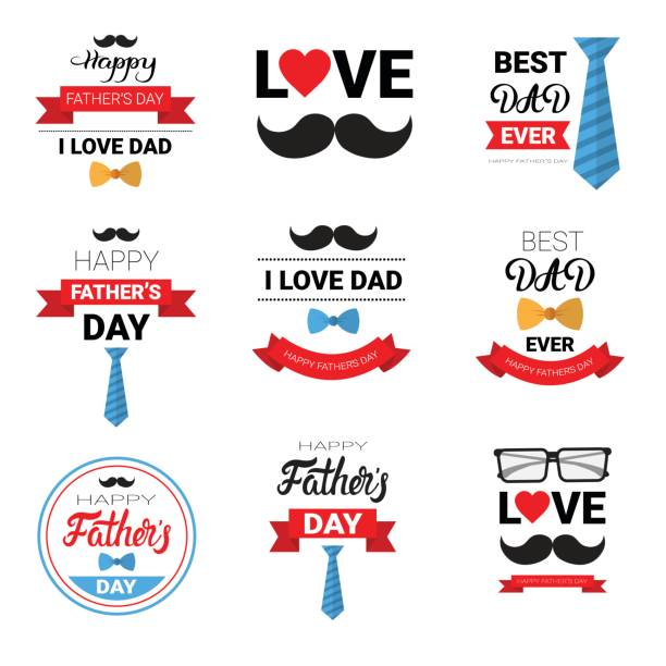 happy father day family holiday greeting card poster set - fathers day stock illustrations, clip art, cartoons, & icons