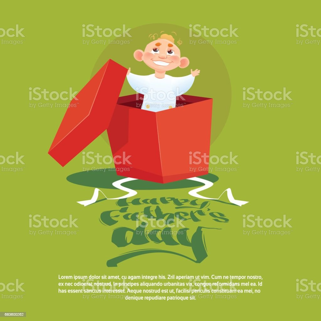 Happy Father Day Family Holiday Small Son In Present Box Greeting