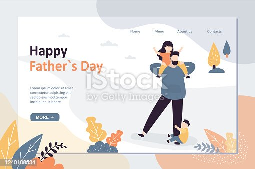 Happy father day landing page template. Dad spends time with children. Family activities concept. Handsome Daddy with preschooler kids playing. Funny tiny people. Trendy style vector illustration