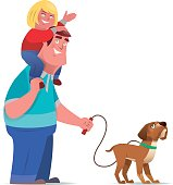 vector illustration of happy father with daughter…