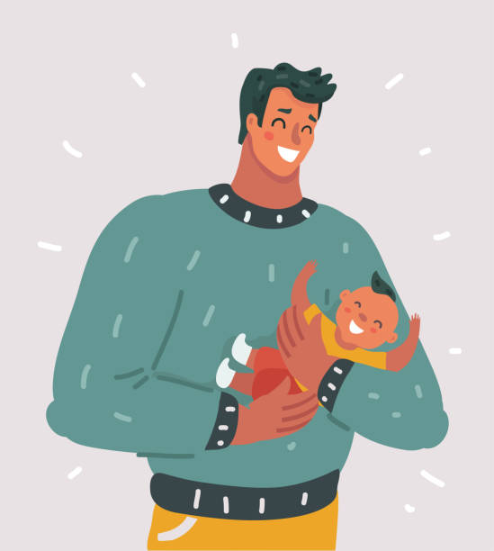 happy father with little baby - father stock illustrations, clip art, cartoons, & icons