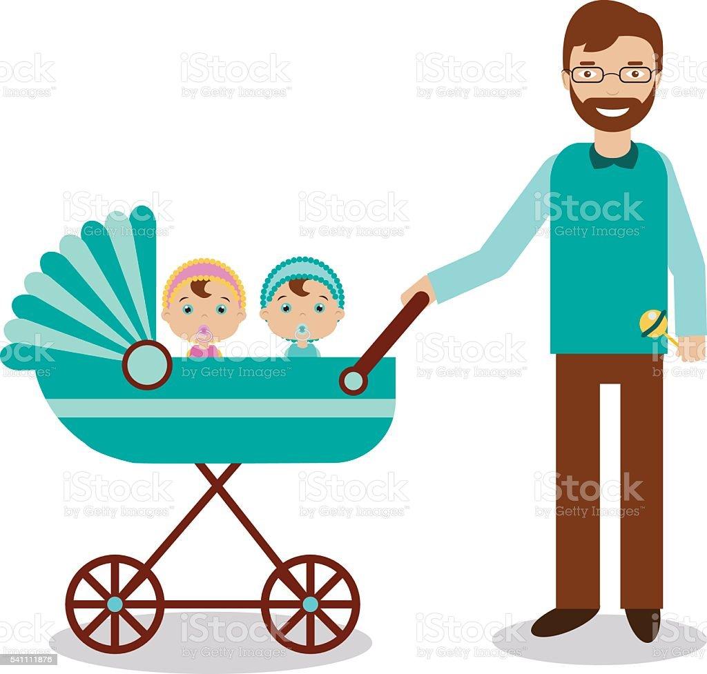 幸せな父と新生児 乳母車 お子様に ベクターアートイラスト