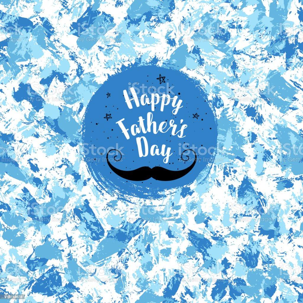 Padre feliz ' s tarjeta de felicitación del día. Vector de fondo con bigote, estrellas, letras a mano. Cartel caligráfico del día de padres. - ilustración de arte vectorial