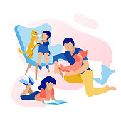 Happy Fatherhood and Childhood. Spending Time with Children. Flat Cartoon Dad Holding Baby on Hands while Daughter Reading Book. Little Son Playing with Cat on Armchair. Vector Isolated Illustration