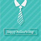istock Happy Father's Day and Tie Flat Design. 1127179564